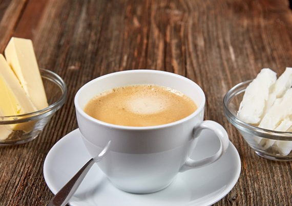 Bulletproof Coffee in a white cup