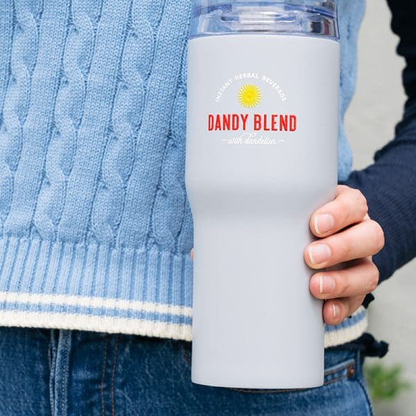Dandy Blend instant herbal beverage travel tumbler