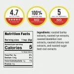 nutrition facts labels for regular dandy blend